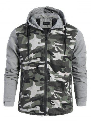 Sale Mens Camo Hooded Jacket GRAY 3XL