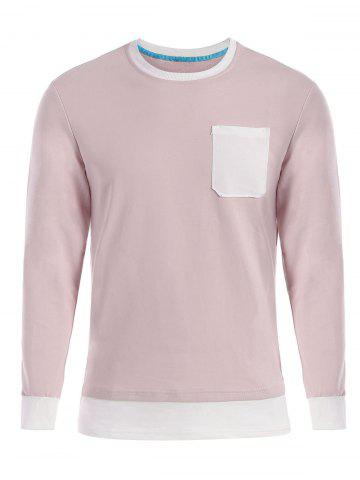 Fashion Contrast Trim Front Pocket Long Sleeve T-shirt - 2XL SHALLOW PINK Mobile