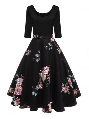 Outfit Retro U Neck Floral Pin Up Dress