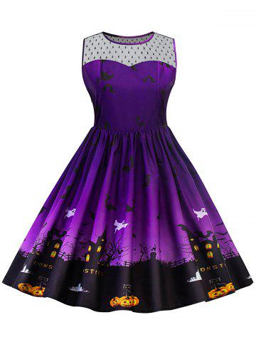 New Plus Size Halloween Lace Panel Dress PURPLE XL