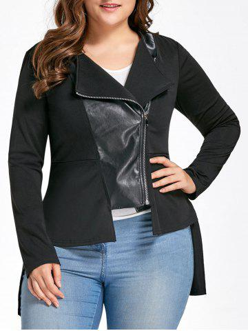 Fashion Plus Size PU Leather Insert High Low Jacket