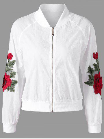 Shop Floral Appliqued Zipper Up Jacket WHITE M