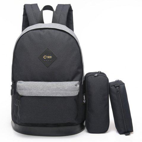 Trendy Pencil Bags and Padded Strap Backpack BLACK GREY VERTICAL