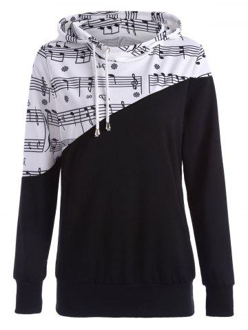 Store Two Tone Music Note Hoodie - XL BLACK Mobile