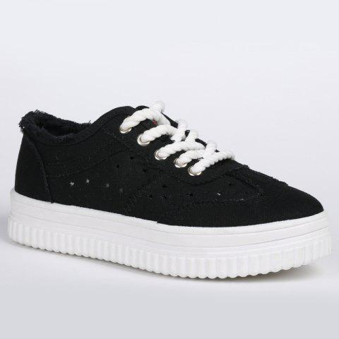 Store Lace Up Hollow Out Canvas Shoes