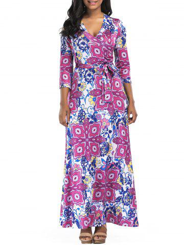 Discount Floral Print Surplice Belted Maxi Dress