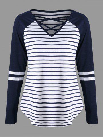 Affordable Lattice Neck Striped Curved Jersey Top