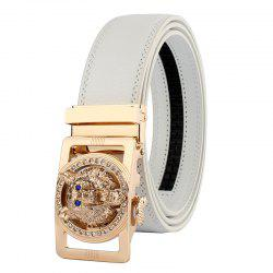 Rhinestone Alloy Wolf Carving Automatic Buckle Belt -