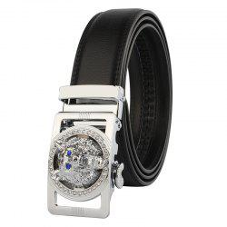 Rhinestone Alloy Wolf Carving Automatic Buckle Belt - SILVER AND BLACK 120CM