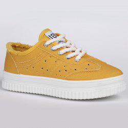 Lace Up Hollow Out Chaussures de toile - Jaune 38