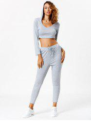 Active Long Sleeve Hooded Crop Top and Pants -