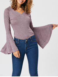Slimming V-neck Flounce Top with Flare Sleeve -