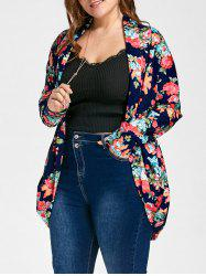 Open Front Plus Size Froral Print Cardigan -