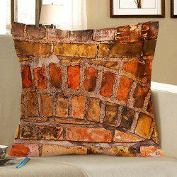 Brick Wall Pattern Square Pillow Case - BROWN W18 INCH * L18 INCH