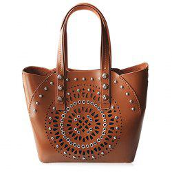 Stud Hollow Out 2 Pieces Handbag Set -