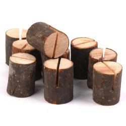 10 Pcs Wooden Table Number Holders - BROWN