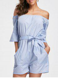 Bell Sleeve Off The Shoulder Romper - CLOUDY S