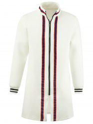 Stripe Braid Embellished Zip Up Longline Coat - Blanc 2XL