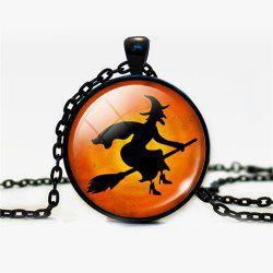 Halloween Devil Sorceress Round Pendant Necklace -