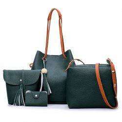 Tassel 4 pièces Faux Leather Shoulder Bag Set - Vert