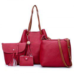Tassel 4 Pieces Faux Leather Shoulder Bag Set - RED