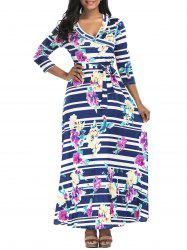 Floral Striped Belted Surplice Maxi Dress - COLORMIX M