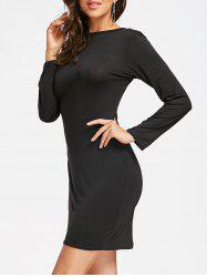 Full Zip Long Sleeve Pencil Dress - BLACK M