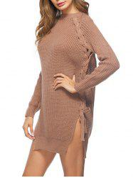 Lace Up Cable Knit Sweater Dress -