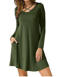 Long Sleeve V Neck T-shirt Dress - ARMY GREEN 2XL