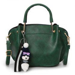 Faux Leather Metal Handle Tote Bag - GREEN
