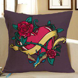 Flower Twining Heart Printed Throw Pillow Case -