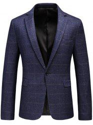 Lapel One Button Checked Blazer - PURPLE XL