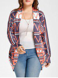 Long Open Front Geometric Print Cardigan -