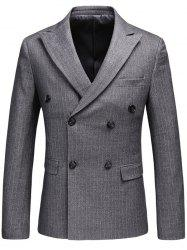 Vertical Stripes Lapel Double Breasted Blazer - GRAY L