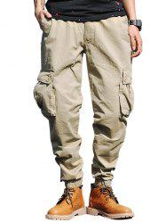 Beam Feet Drawstring Zip Fly Cargo Pants - KHAKI 40