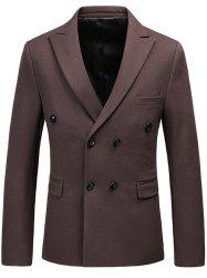 Lapel Flap Pocket Double Breasted Blazer - COFFEE 3XL