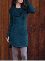 Drawstring Long Sleeve Hoodie Dress -