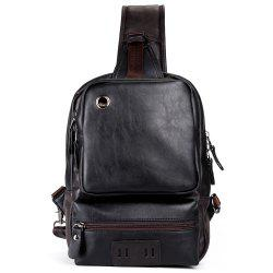 Faux Leather Eyelet Crossbody Bag - Noir