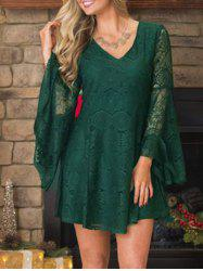 Christmas Lace Swing Dress with Flare Sleeve - BLACKISH GREEN L