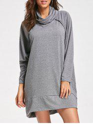 Casual Mock Neck Long Sleeve Dress - GRAY S