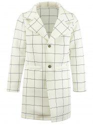 Single Breasted Checked Longline Coat - WHITE M