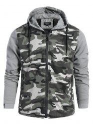 Mens Camo Hooded Jacket - GRAY 3XL