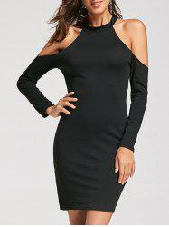 Open Shoulder Long Sleeve Halter Dress - BLACK S