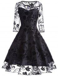 Sheer Sleeve Keyhole Lace Vintage Dress -
