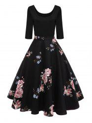 Retro U Neck Floral Pin Up Dress -