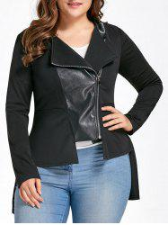 Plus Size PU Leather Insert High Low Jacket -