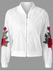 Floral Appliqued Zipper Up Jacket - WHITE M