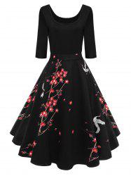 Vintage Wintersweet Print Fit and Flare Dress - BLACK 2XL