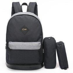 Pencil Bags and Padded Strap Backpack - BLACK GREY VERTICAL