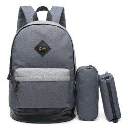 Pencil Bags and Padded Strap Backpack - GRAY VERTICAL
